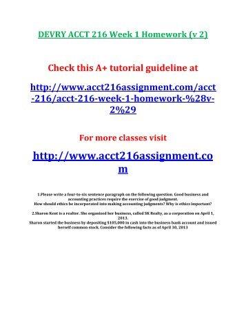 DEVRY ACCT 216 Week 1 Homework (v 2)