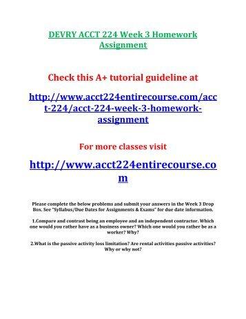 DEVRY ACCT 224 Week 3 Homework Assignment