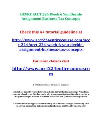 DEVRY ACCT 224 Week 6 You Decide Assignment