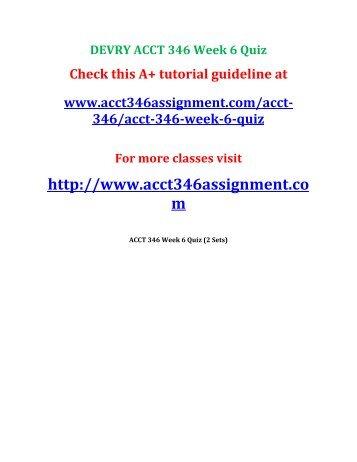 DEVRY ACCT 346 Week 6 Quiz