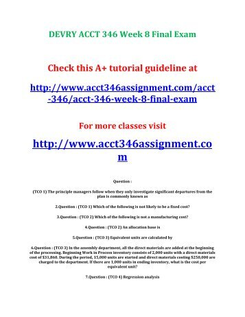 DEVRY ACCT 346 Week 8 Final Exam