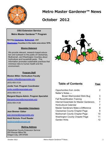 October 2012 - Metro Master Gardeners
