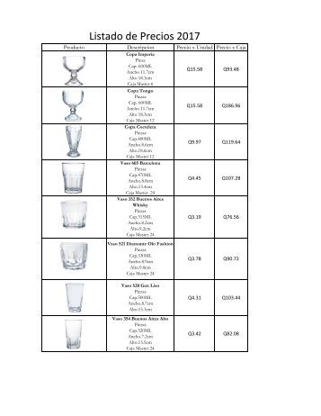 listado de vidrio