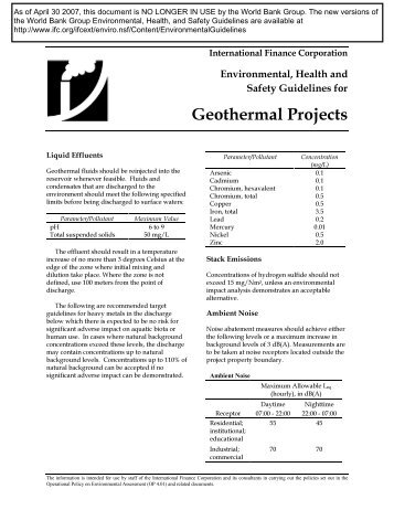 Environmental, Health and Safety Guidelines for Geothermal ... - IFC