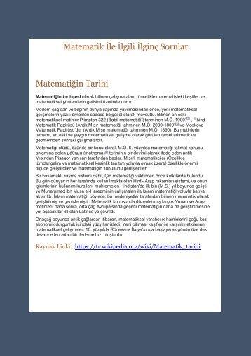Matematik İle İlgili İlginç Sorular