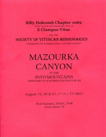 "6021-2016 Summer Vituscan \""Mazourka Canyon\"" History"