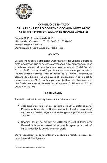 CONSEJO DE ESTADO SALA PLENA DE LO CONTENCIOSO ADMINISTRATIVO