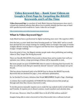 Video Keyword Spy review-- Video Keyword Spy (SECRET) bonuses