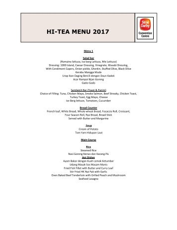 Hi Tea Menu 2017