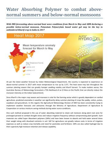 ALSTA HYDROGEL-Water Absorbing Polymer to combat above- normal summers and below-normal monsoons