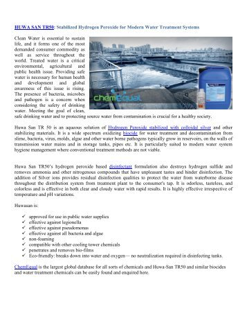 HUWA SAN TR50 Stabilized Hydrogen Peroxide for Modern Water Treatment Systems-ChemEqual
