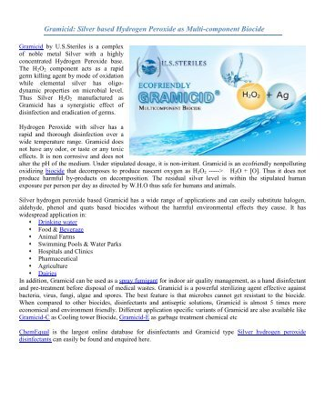 Gramicid Silver based Hydrogen Peroxide as Multi-component Biocide-ChemEqual