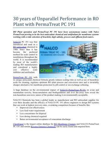 30 years of Unparalleled Performance in RO Plant with Nalco PermaTreat PC191-ChemEqual