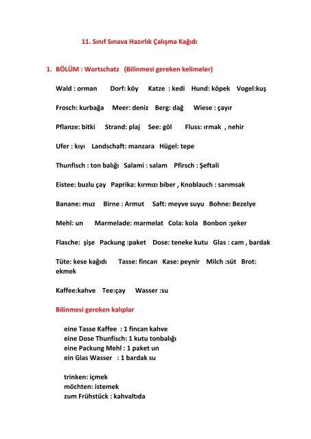 11 Sinif Almanca Calisma Kagidi