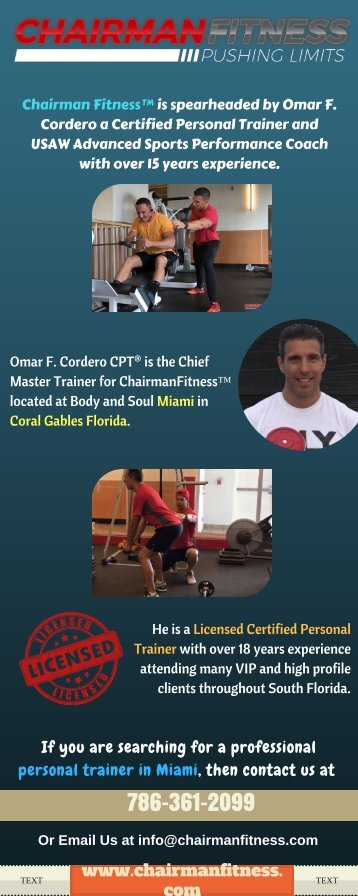 Chairman Fitness - The Best Personal Fitnesss Trainers in Miami