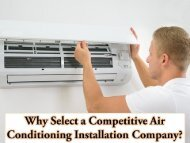 Why Select a Competitive Air Conditioning Installation Company