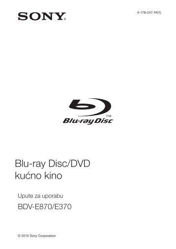 Sony BDV-E870 - BDV-E870 Mode d'emploi Croate
