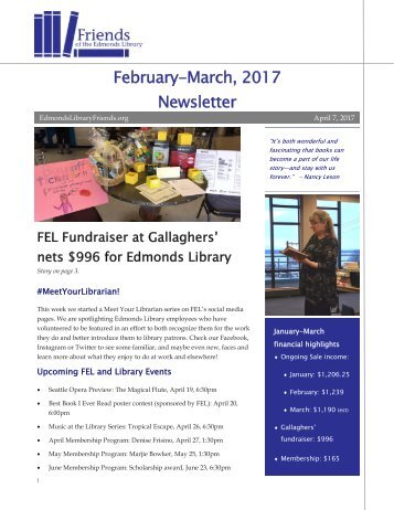 February-March 2017 Newsletter