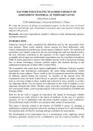factors influencing teacher's design of assessment material at - INRP