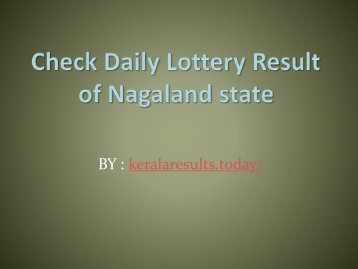 Check Daily Lottery Result of Nagaland State