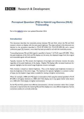 Perceptual Quantiser (PQ) to Hybrid Log-Gamma (HLG) Transcoding