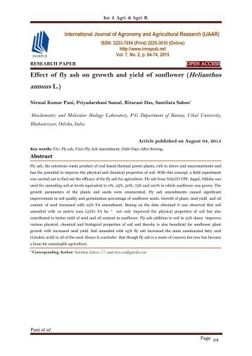 Effect of fly ash on growth and yield of sunflower (Helianthus annuus L.)