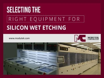 Selecting Equipment for Silicon Wet Etching