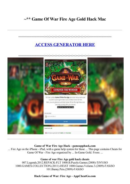 Game Of War Fire Age Gold Hack Mac Access Generator Here