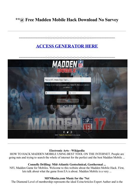 Free Madden Mobile Hack Download No Survey ACCESS