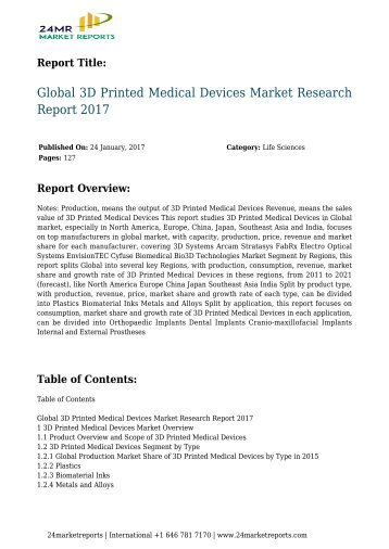 Global 3D Printed Medical Devices Market Research Report 2017