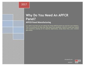 Why Do You Need An APFCR Panel?