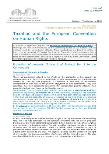 Taxation and the European Convention on Human Rights