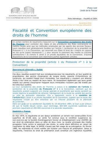 Fiscalité et Convention européenne des droits de l'homme