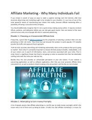 Affiliate Marketing - Why Many Individuals Fail