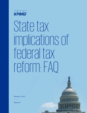 State tax implications of federal tax reform FAQ