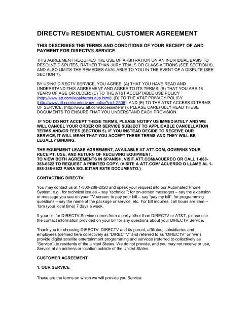 Directv Residential Customer Agreement