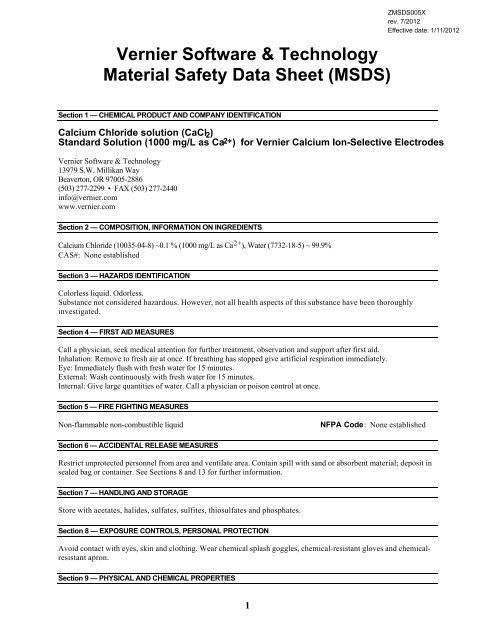 Vernier Software Technology Material Safety Data Sheet Msds