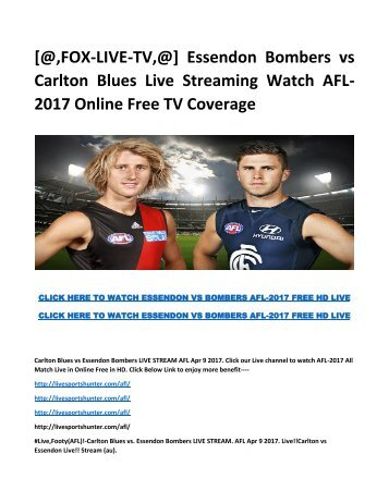 Carlton Blues Live Streaming Watch AFL- 2017 Online Free TV Coverage