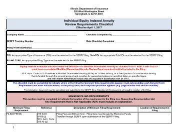 Individual Equity Indexed Annuity Review Requirements Checklist