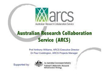 Australian Research Collaboration Service (ARCS) - eResearch SA