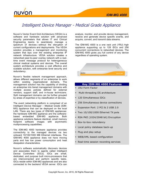 Intelligent Device Manager - Medical Grade Appliance - Nuvon