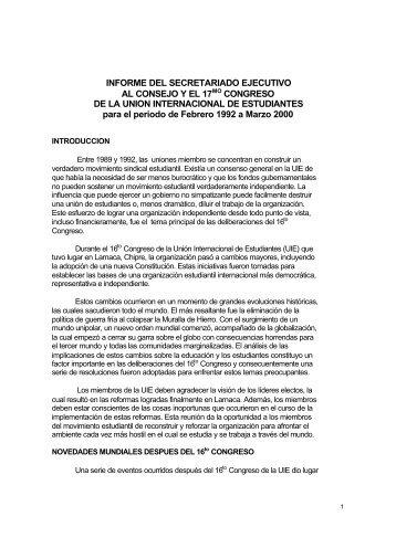 INFORME DEL SECRETARIADO EJECUTIVO AL CONSEJO Y EL ...