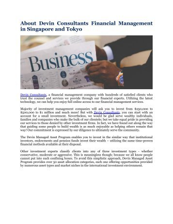 About Devin Consultants Financial Management in Singapore and Tokyo