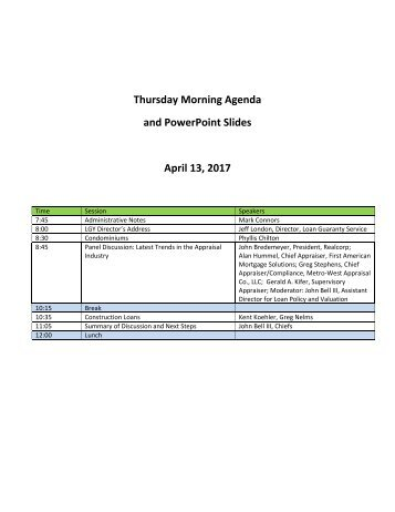 Thursday Morning Agenda and PowerPoint Slides April 13 2017
