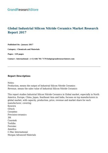 Global Industrial Silicon Nitride Ceramics Market Research Report 2017