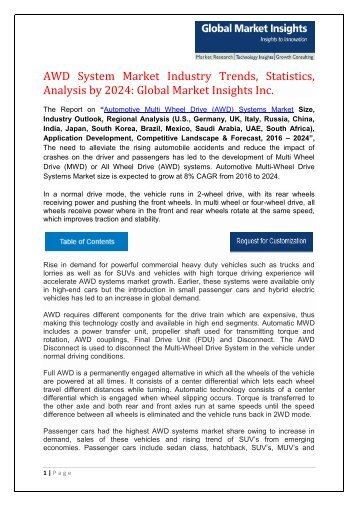 Automotive Multi-Wheel Drive (AWD) Systems Market to grow at 8% CAGR from 2016 to 2024