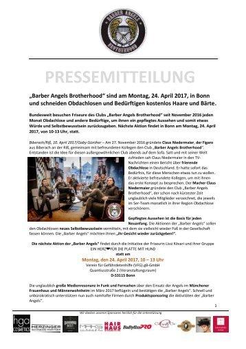 Pressemitteilung Barber Angels Brotherhood in Bonn am 24. April 2017