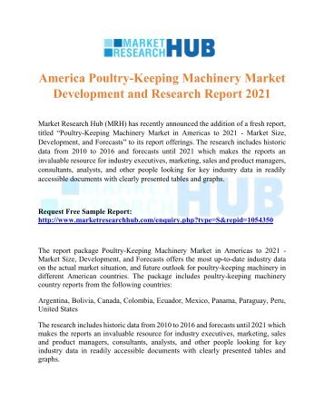 America Poultry-Keeping Machinery Market Development and Research Report 2021