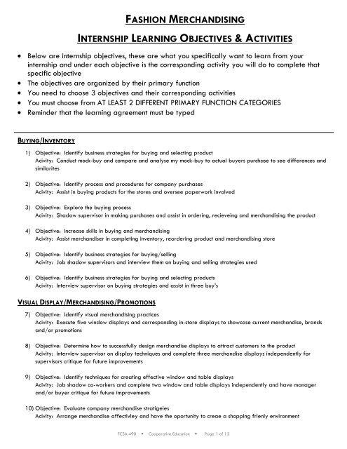 fashion merchandising internship learning objectives & activities