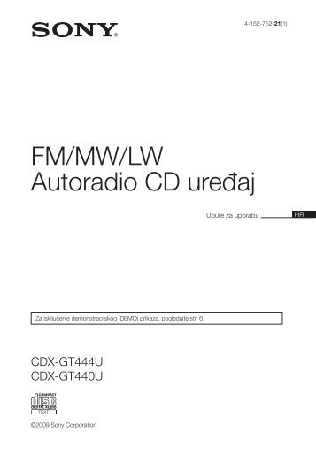 Sony CDX-GT440U - CDX-GT440U Mode d'emploi Croate